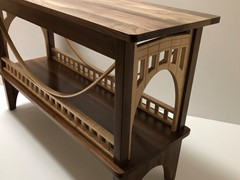Walnut and curly maple Pittsburgh bridge table